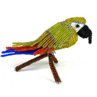 Handmade Beaded Parrot on Branch Sculpture (Zimbabwe)
