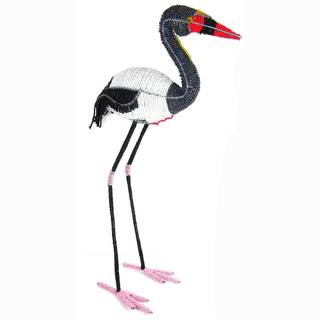 Handmade Life-Size Beaded Saddle-billed Stork Sculpture (Zimbabwe)