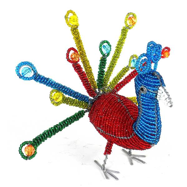 Handmade Colorful Beaded Peacock Sculpture (Zimbabwe)