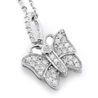 Luxurman 14k Gold 1/5ct TDW Diamond Butterfly Pendant Necklace