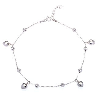 La Preciosa Sterling Silver Bead and Heart Link Anklet