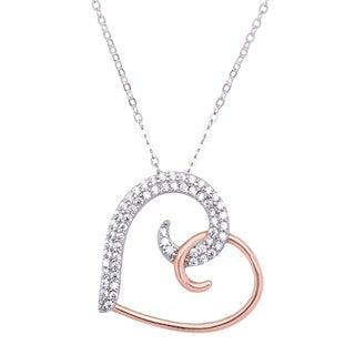 La Preciosa Sterling Silver and Rose Goldplated Cubic Zirconia Heart Necklace