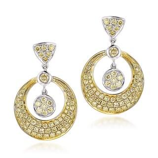 Luxurman 14k Two-tone Gold 1 1/3ct Yellow Diamond Drop Earrings