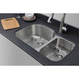 Wells Sinkware 32-inch Undermount 70/30 Double Bowl 18-gauge Stainless Steel Kitchen Sink Package