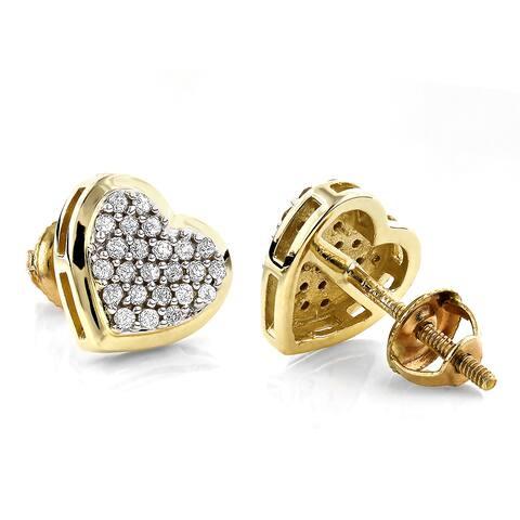 Luxurman 14k Gold 1/3ct TDW Heart Diamond Stud Earrings (H-I, SI1-SI2)