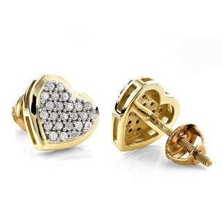 Luxurman 14k Gold 1/3ct TDW Heart Diamond Stud Earrings (H-I, SI1-SI2)