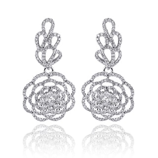 Luxurman 14k White Gold 2 1/3ct TDW Diamond Flower Earrings (G-H, VS1-VS2)