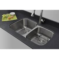 Wells Sinkware Craftsmen Series 32-inch 16-gauge Undermount 60-40 Double Bowl Stainless Steel Kitchen Sink Package