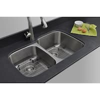 Wells Sinkware Craftsmen Series 32-inch 16-gauge Undermount 40-60 Double Bowl Stainless Steel Kitchen Sink Package