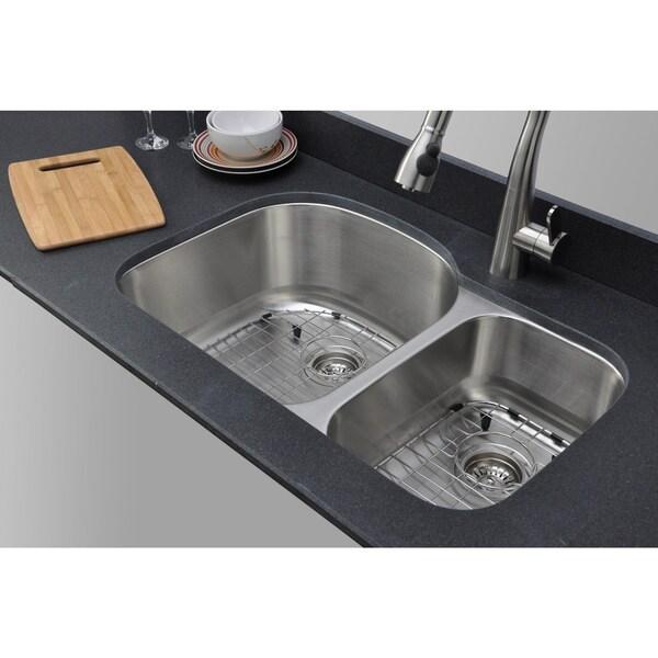 Wells Sinkware Craftsmen Series 32-inch 16-gauge Undermount 70-30 Double Bowl Stainless Steel Kitchen Sink Package. Opens flyout.