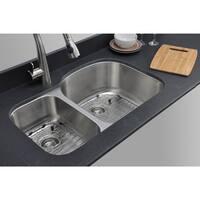 Wells Sinkware Craftsmen Series 32-inch 16-gauge Undermount 30-70 Double Bowl Stainless Steel Kitchen Sink Package