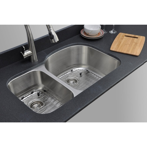 Wells Sinkware Craftsmen Series 32-inch 16-gauge Undermount 30-70 Double Bowl Stainless Steel Kitchen Sink Package
