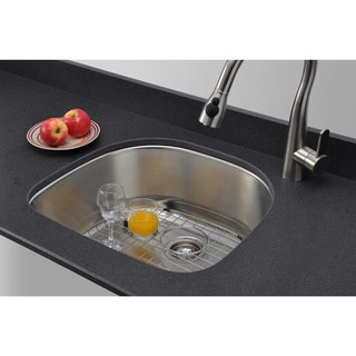 Wells Sinkware 16-gauge D-shape Single Bowl Undermount Stainless Steel Kitchen Sink Package