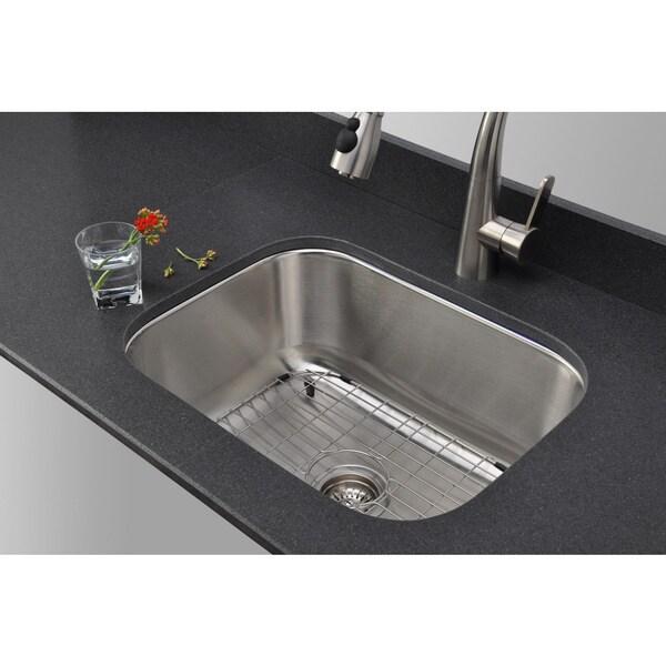 Wells Sinkware 23-inch Undermount Single Bowl 16-gauge Stainless Steel Kitchen Sink Package