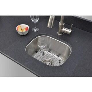 Wells Sinkware 15-inch Undermount Single Bowl 18-gauge Stainless Steel Bar Sink Package