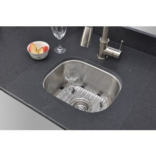 Wells Sinkware 15-inch Undermount Single Bowl 18-gauge Stainless Steel Bar Sink Package