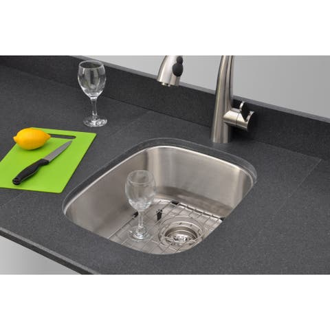 Wells Sinkware Craftsmen Series 15-inch 18-gauge Undermount Single Bowl Stainless Steel Kitchen Sink Package