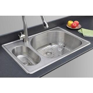 Wells Sinkware 33-inch Topmount 20/80 Double Bowl 18-gauge Stainless Steel Kitchen Sink Package