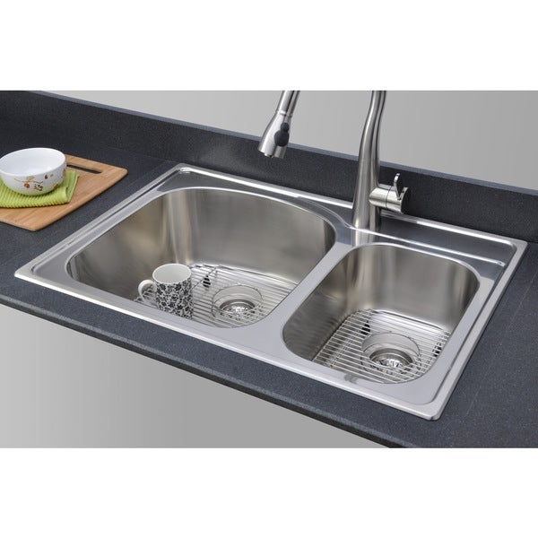 ... Double Bowl Topmount Stainless Steel Kitchen Sink Package CHT3322-97-1
