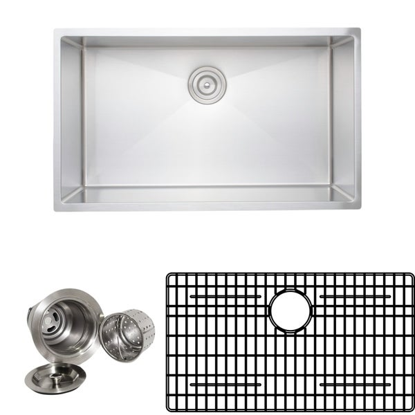 Wells Sinkware Chef's Collection 32-inch 16-gauge Undermount Single Bowl Stainless Steel Kitchen Sink Package