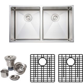 Wells Sinkware Chef's Collection 33-inch 16-gauge Undermount 50-50 Double Bowl Stainless Steel Kitchen Sink Package