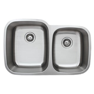 Wells Sinkware Craftsmen Series 32-inch 18-gauge Undermount 60-40 Double Bowl Stainless Steel Kitchen Sink