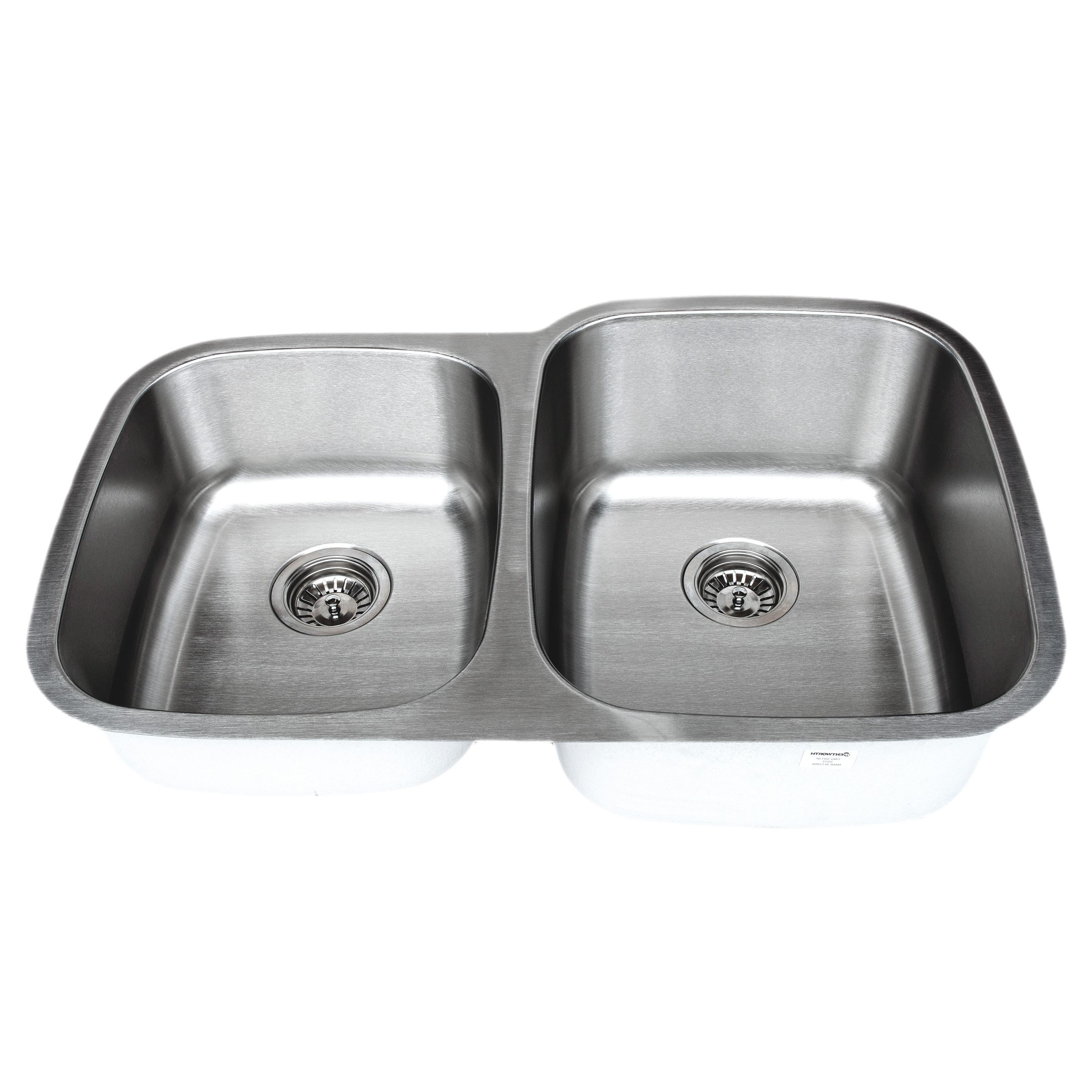 """32/"""" Stainless Steel Double 40//60 Bowl 18 Gauge Undermount Kitchen Sink Strainer"""