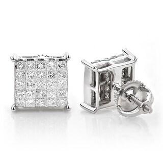 Luxurman 14k White Gold 1 1/6ct TDW Princess-cut Diamond Earrings