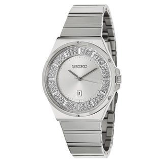 Seiko Women's Crystal Bezel Stainless Steel Watch