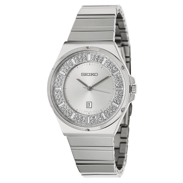 Seiko Women's SXDF71 Crystal Bezel Stainless Steel Watch