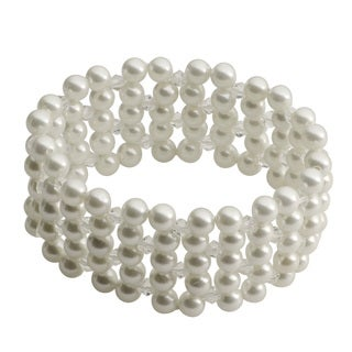 Gems For You White Shell Pearl and Crystal 5-row Stretch Bracelet (6 mm)
