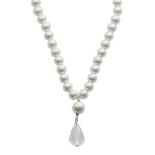 Pearls For You Sterling Silver White Shell Pearl and Crystal Necklace (8 mm, 6 mm)