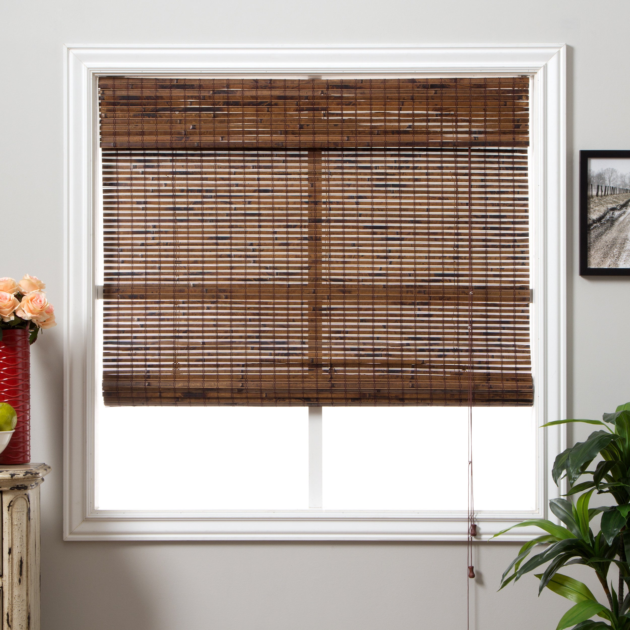 Arlo Blinds Java Vintage Bamboo Roman Shade with 74 Inch ...