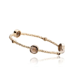 Riccova Arctic Mist 14k Yellow Goldplated Brass Brown Stones Hammered Bangle