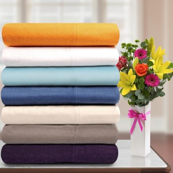 Superior Cotton Flannel Deep Pocket Solid Sheet Set/ Pillowcase Set