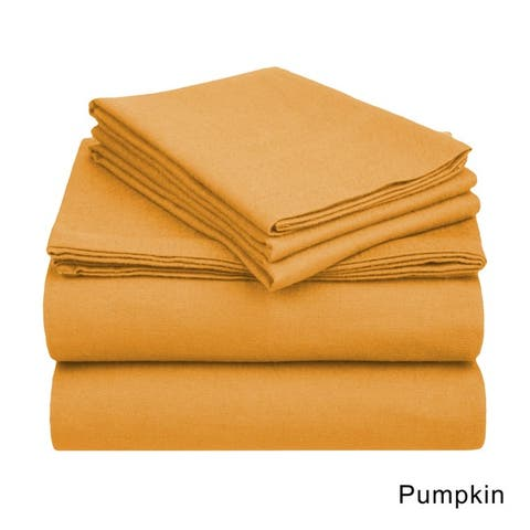 Superior Cotton Flannel Deep Pocket Solid Bed Sheet Set/ Pillowcase Set