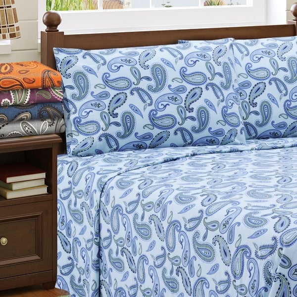 Shop Superior Paisley Deep Pocket Cotton Flannel Sheet Set Free