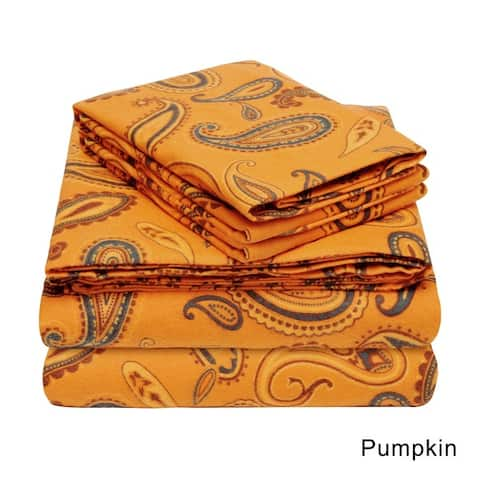 Superior Paisley Deep Pocket Cotton Flannel Bed Sheet Set