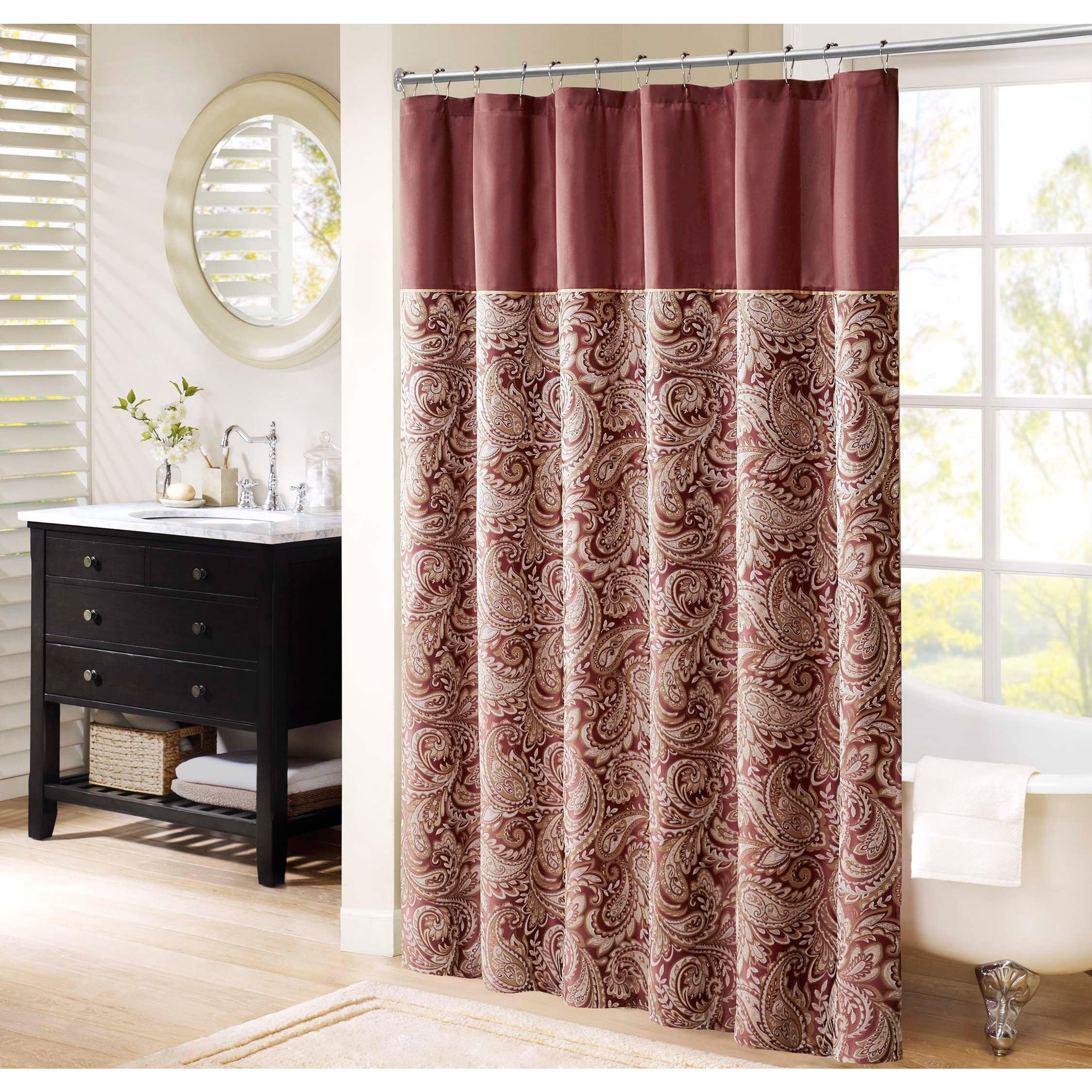 Madison Park Wellington Shower Curtain (Option: Burgundy)
