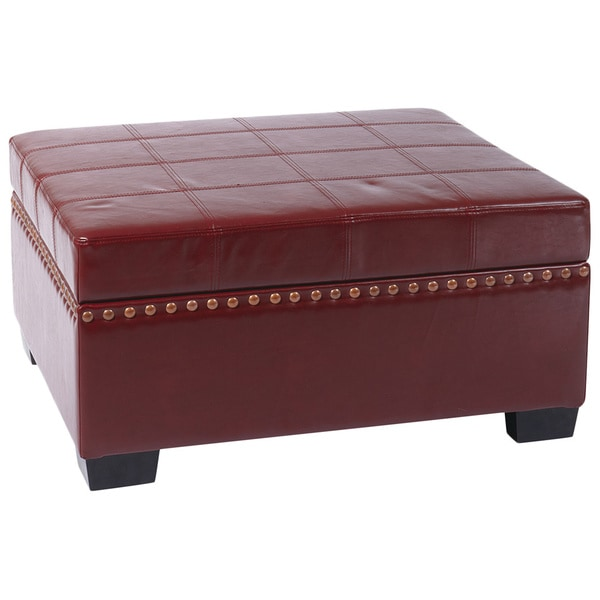 Contemporary eco leather storage ottoman with solid wood