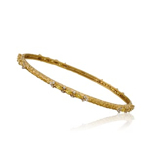Riccova Arctic Mist Cubic Zirconia 14k Yellow Goldplated Brass Hammered Bangle