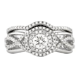 Beverly Hills Charm 14k White Gold 3/4ct TDW Double Halo Bridal Ring Set (H-I, SI2-I1)