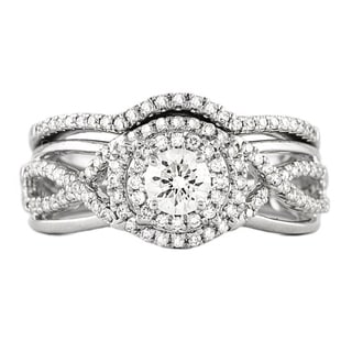 Beverly Hills Charm 14k White Gold 3/4ct TDW Double Halo Bridal Ring Set