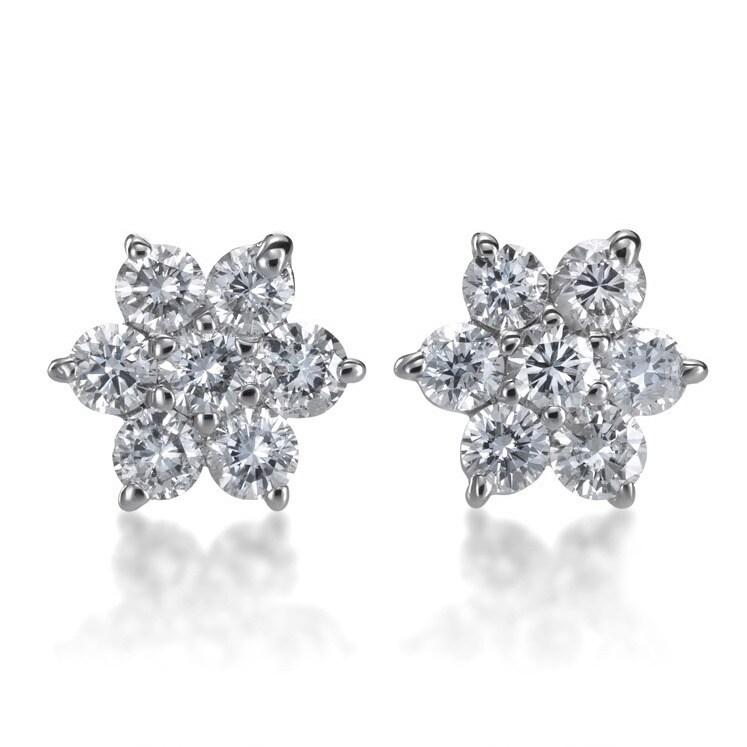 14k White Gold 1 2ct Tdw Diamond Flower Stud Earrings