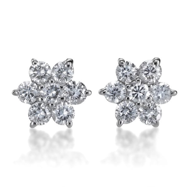 7bdbcc3c8 Shop 14k White Gold 1/2ct TDW Diamond Flower Stud Earrings - Free ...