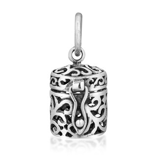 Handmade See Through Filigree Ornate Prayer Box.925 Silver Pendant (Thailand)