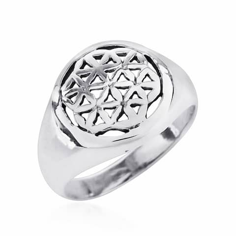 Handmade Linked Lilies Flower of Life .925 Sterling Silver Ring (Thailand)