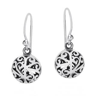 Stylish 3D Filigree Round Ball Sterling Silver Earrings (Thailand)