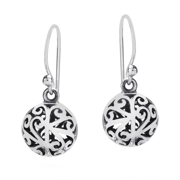 Handmade Stylish 3d Filigree Round Ball Sterling Silver