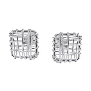 Open Square Wire Wrap Sterling Silver Post Earrings (Thailand)
